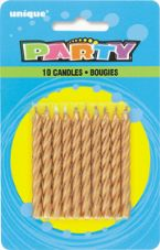 Gold Birthday Cake/ Anniversary Cake Candles 10 Pack